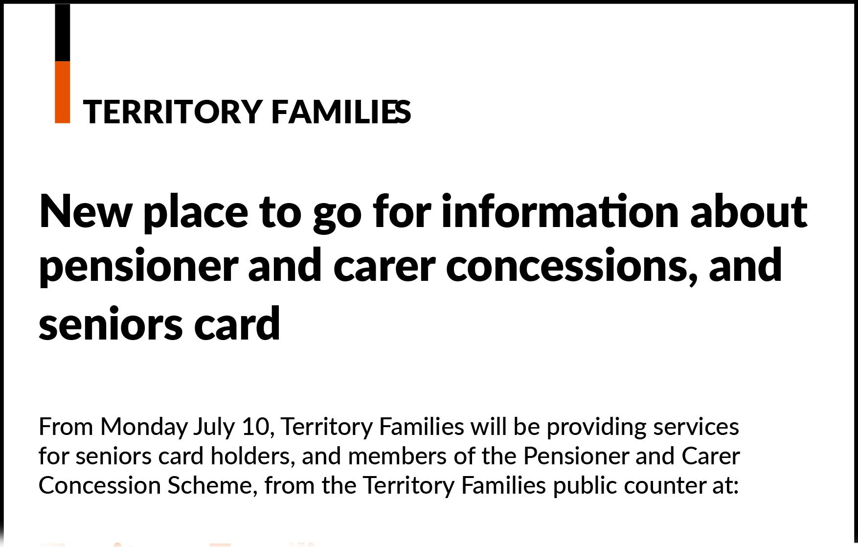 New service locations for seniors card and pensioner and carer concessions