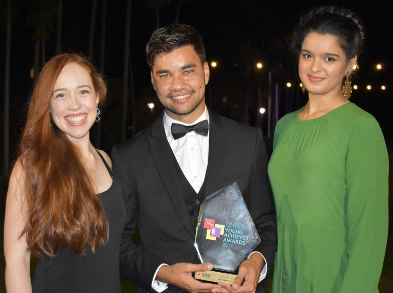 Caption: Mark Munnich, NT Young Achiever of the Year with fellow NT Youth Ambassador Jessie Spargo (L) and fellow CDU Law student Kiran McLaren (R)